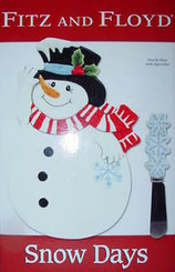 FITZ AND FLOYD SNOW DAYS SNACK PLATE & SPREADER with FREE SHIPPING