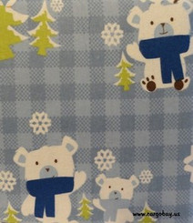 BLUE POLAR BEAR QUEEN FLANNEL SHEET SET with FREE SHIPPING