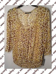 Tan Animal Print Shirt Blouse  Women's Plus Size 0x 1x or 2x 3/4 Sleeve New