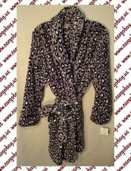 Misses Gray Leopard Tie Front Robe Large or Extra Large with Free Shipping