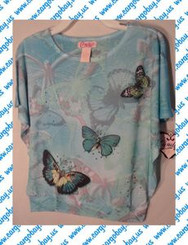 Candie's Girl Butterfly Short Sleeve Shirt in Pink or Blue Size Small or Large with Free Shipping