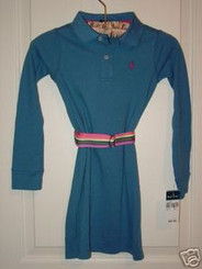 RALPH LAUREN GIRLS BLUE POLO DRESS SIZE 6 with FREE SHIPPING