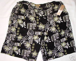 PLUS SIZE 2X BLACK & GREEN SUMMER SHORTS