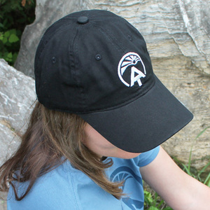 "Show your support for the Appalachian Trail Conservancy's mission of preserving the iconic A.T. with this soft-cotton black ""ball cap."""