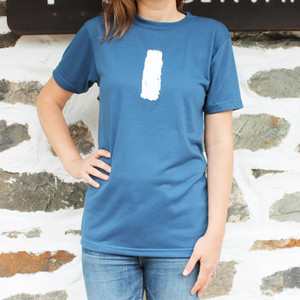 The iconic Appalachian Trail white blaze adorns the front of this moisture wicking shirt.