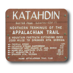 Reproduced from a photograph of the iconic sign at the northern terminus of the Appalachian Trail.