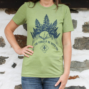 This super soft, heather green shirt also features the trademarked A.T. diamond.