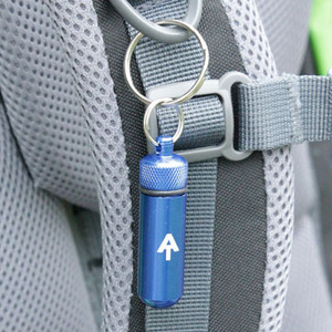 """Need to have an essential pill no further than your keychain or zipper pull? At 2 38"""" long, this metal pill capsule is the perfect solution."""