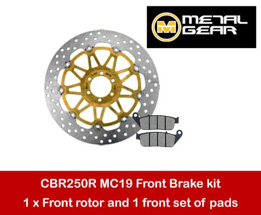 Honda CBR250R MC19 front brake rotor & pads