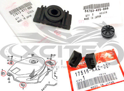 Genuine Honda CBR250RR MC22 tank rubber grommet set 17516-KAZ-000 84703-425-000 17516-KAZ-000
