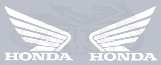 2 x Genuine Honda wings tank decal, pearl white 110mm x 86mm 0SYWG-D9P-W11