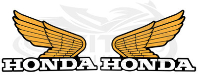 2 x Genuine Honda wings tank decal, yellow and black 140mm x 90mm 0SYWG-C9L-Y14