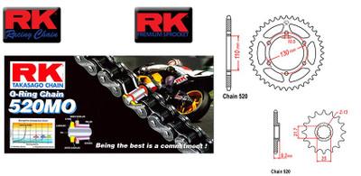 RK chain 520KRO 112 Link & sprockets set Kawasaki Ninja 300 13-17, 250R 08-12