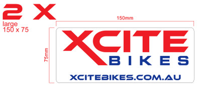 Pair of XCite Bikes decals, colour, large