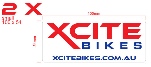 Pair of XCite Bikes decals, colour, small