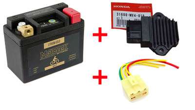 Motocell Lithium Gold battery + OEM regulator + new connector package