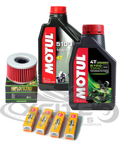 Oil + HiFlo Filter + Spark Plugs service pack Motul 10w40