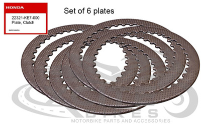Set of 6 x Genuine Honda clutch metal plates 22321-KE7-000
