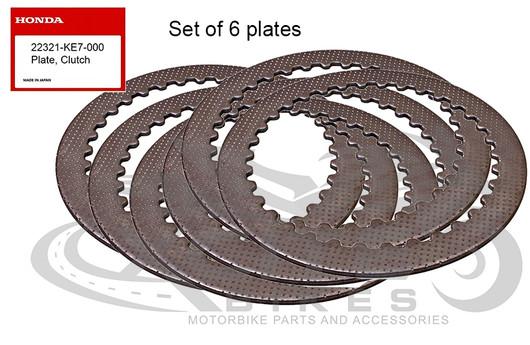 Set of 6 x Genuine Honda clutch metal plates 22321-KE7-000