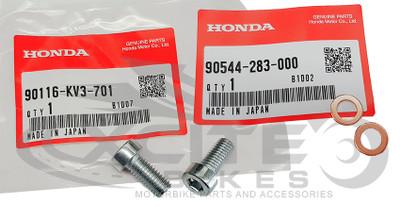 Genuine Honda Fork Bolt & Crush washer 8mm 90116-KV3-701 90544-283-000