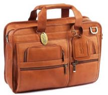 Claire Chase Slimline Executive Computer Briefcase (Saddle)