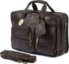 Claire Chase Executive Computer Leather Briefcase 151E Dark Brown Cafe