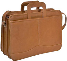 David King Triple Gusset Drop Handle Leather Briefcase