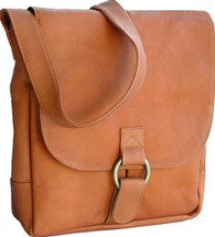 David King Vertical Leather Laptop/Tablet Messenger Bag