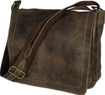 David King Distressed Leather Messenger Bag