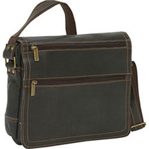 David King Distressed Double Zip Flap Leather Messenger Bag