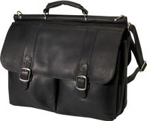 Edmond Leather Dowel Briefcase Black