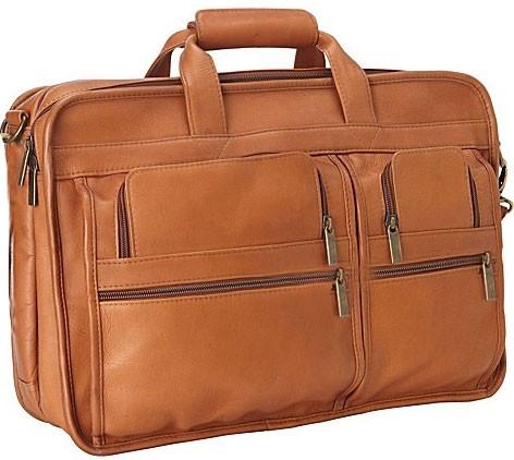 Edmond Leather Expandable Business Briefcase (Tan)