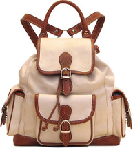 Floto Toscana Pack Leather Backpack Ivory/Brown
