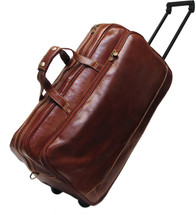 Floto Milano Trolley Large Italian Leather Travel Bag Brown