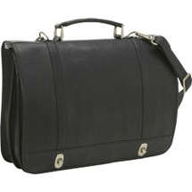 Le Donne Flap Over Twist Lock Brief Leather Briefcase BR18
