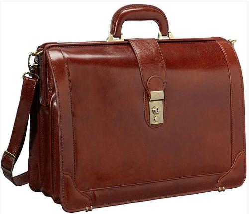 Mancini Luxurious Laptop Litigator Briefcase Brown