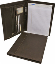 Piel Leather Letter-Size Padfolio With Organizer Chocolate