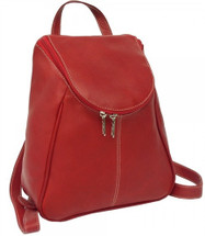 Piel Leather U-Zip Backpack Red
