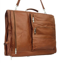 Piel Leather Executive Expandable Garment Bag Saddle