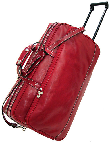 Floto Milano Trolley Small Italian Leather Wheeled Travel Bag Red