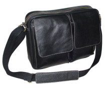 Amerileather Dual Flap Leather Brief Black