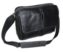Amerileather Dual Flap Leather Brief Black