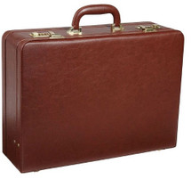 Amerileather Large Expandable Faux Leather Attache Case Brown