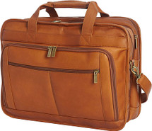 Edmond Leather Deluxe Large Expandable Briefcase (Tan)