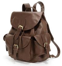 Amerileather Urban Buckle-Flap Backpack Dark Brown