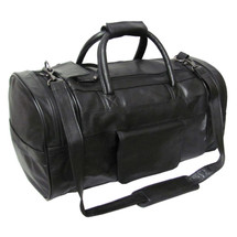 Amerileather Leather 20-inch Dual Zippered Duffel 3704 - Black