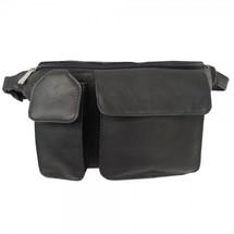 Piel Leather Waist Bag with Phone Pocket 2120 - Black
