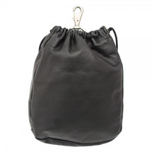 Piel Leather Large Drawstring Pouch 2140 - Black