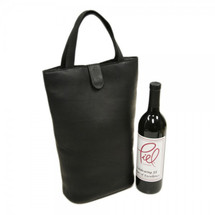 Piel Leather Doulbe Wine Tote 2356 - Black