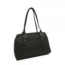 Piel Leather Ladies Buckle Business Tote 2742 - Black